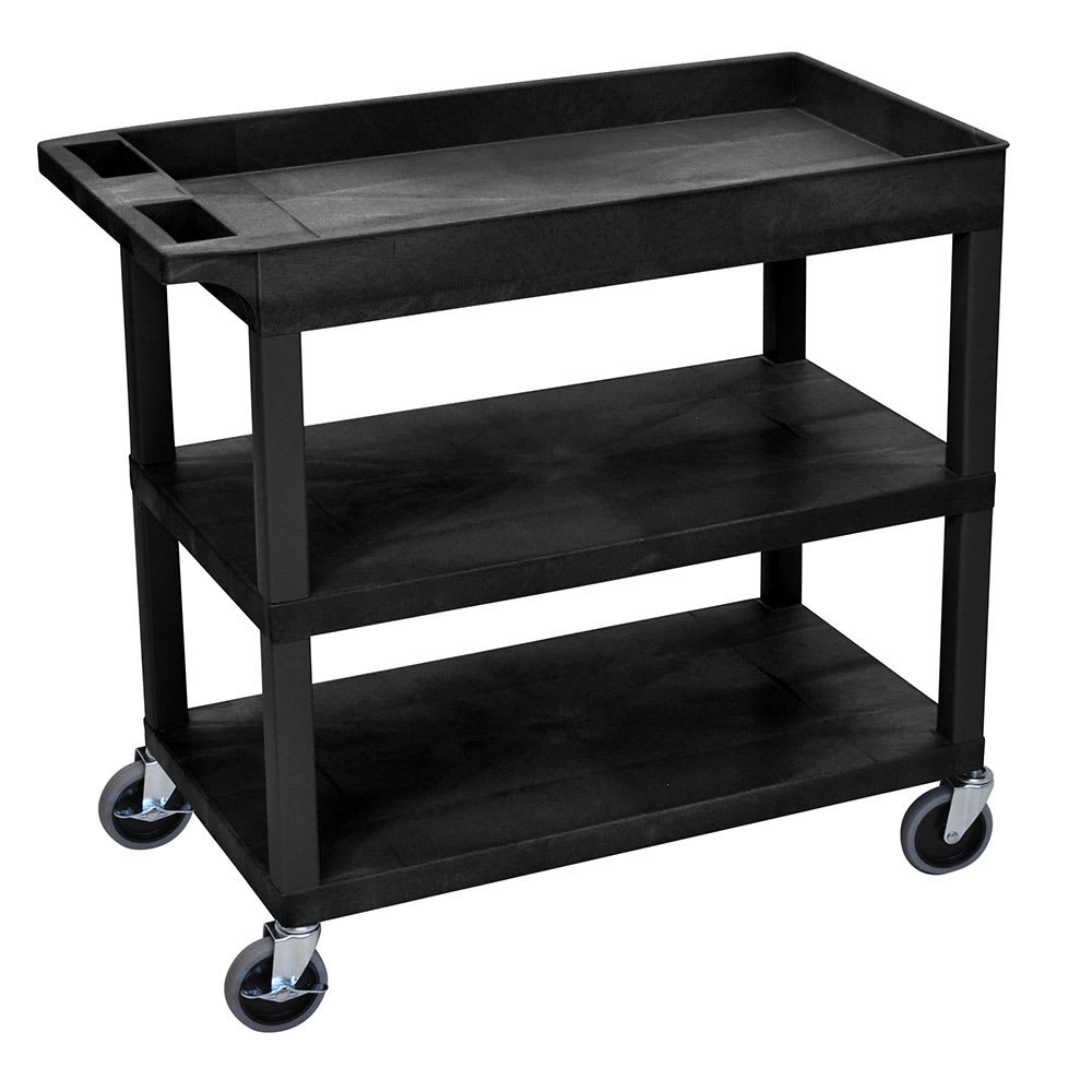 Luxor Furniture EC122-B 3-Level Polymer Utility Cart w/ 400-lb Capacity - Raised Ledges, Black