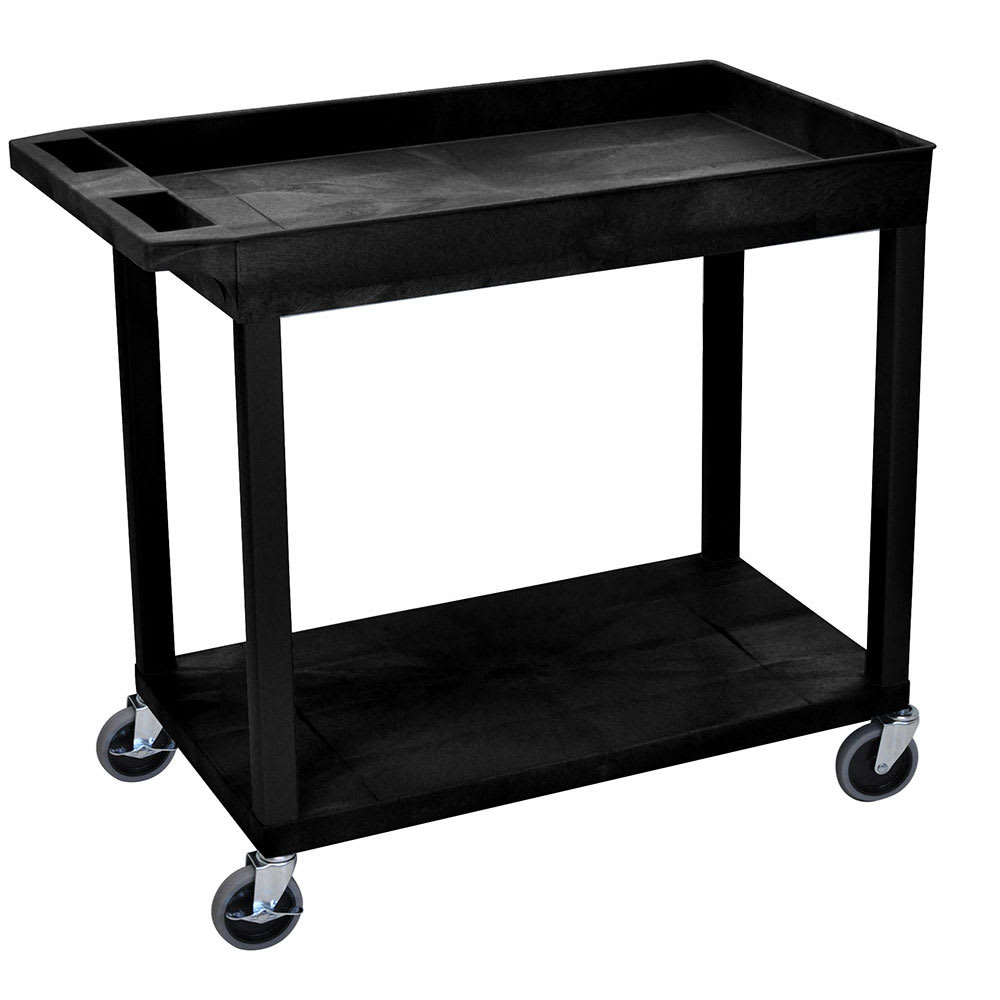 Luxor Furniture EC12-B 2 Level Polymer Utility Cart w/ 400 lb Capacity - Raised Ledges, Black