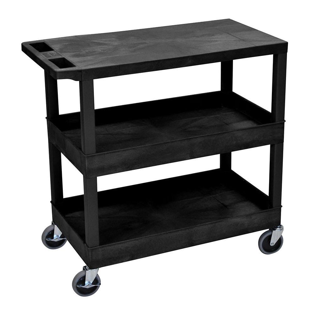 Luxor Furniture EC211-B 3-Level Polymer Utility Cart w/ 400-lb Capacity - Raised Ledges, Black