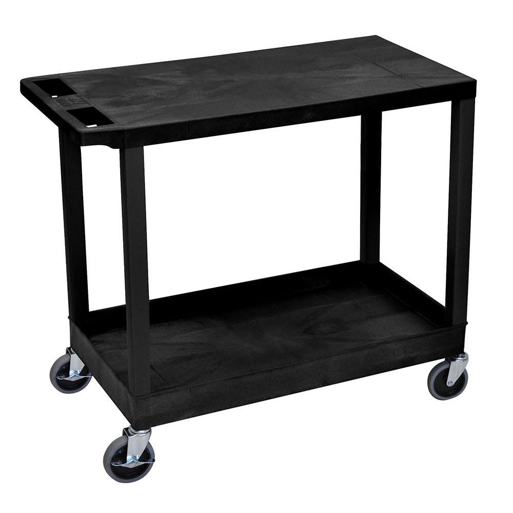 Luxor Furniture EC21-B 2-Level Polymer Utility Cart w/ 400-lb Capacity - Raised Ledges, Black