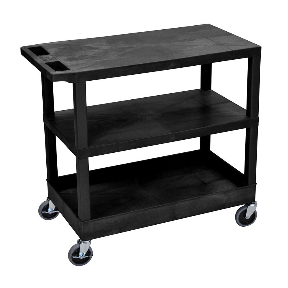 Luxor Furniture EC221-B 3 Level Polymer Utility Cart w/ 400 lb Capacity - Raised Ledges, Black