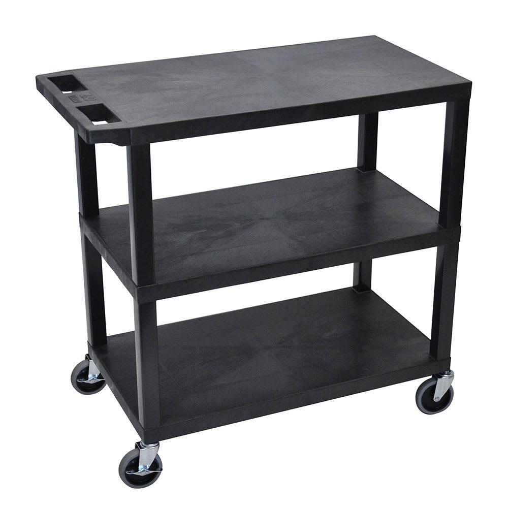 Luxor Furniture EC222-B 3-Level Polymer Utility Cart w/ 400-lb Capacity - Raised Ledges, Black