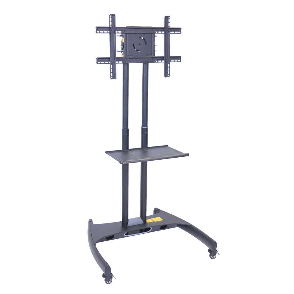 Luxor Furniture FP2500 Adjustable Height TV Stand W/ Shelf, 100 Lb Capacity  U0026 Locking Casters