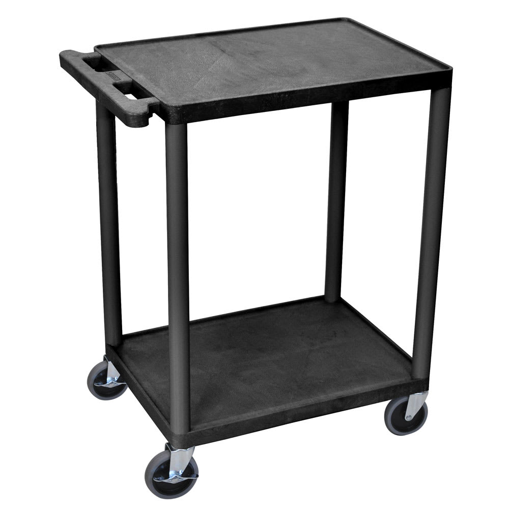 Luxor Furniture HE32-B 2-Level Polymer Utility Cart w/ 400-lb Capacity, Raised Ledges