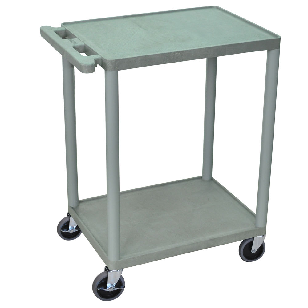 Luxor Furniture HE32-G 2-Level Polymer Utility Cart w/ 400-lb Capacity, Raised Ledges