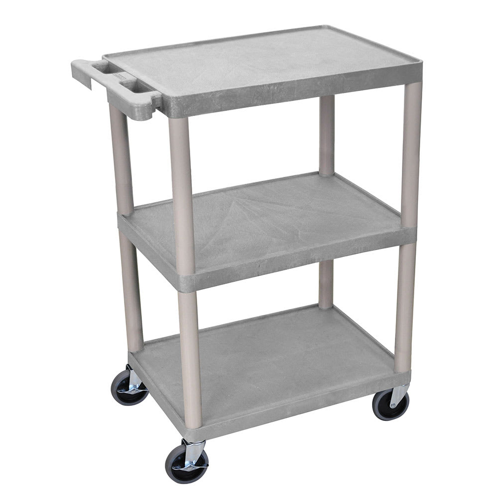 Luxor Furniture HE34-G 3-Level Polymer Utility Cart w/ 400-lb Capacity, Raised Ledges