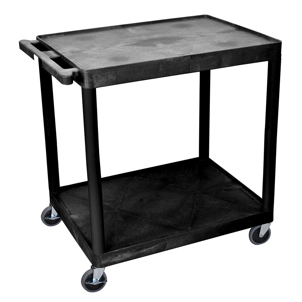 Luxor Furniture HE38-B 2 Level Polymer Utility Cart w/ 400 lb Capacity - Raised Ledges, Black