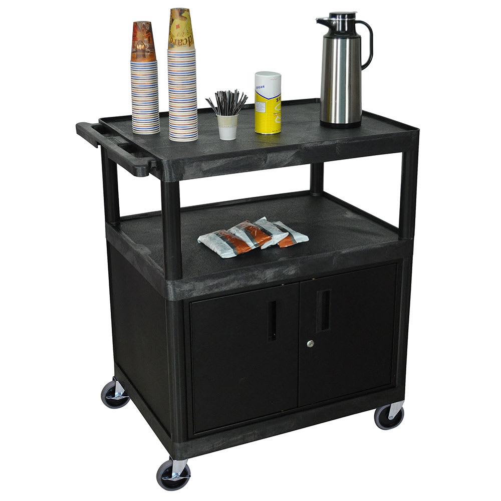 "Luxor Furniture HE40C-B 32"" Polymer Beverage Service Cart, 24""D x 40.25""H, Black"