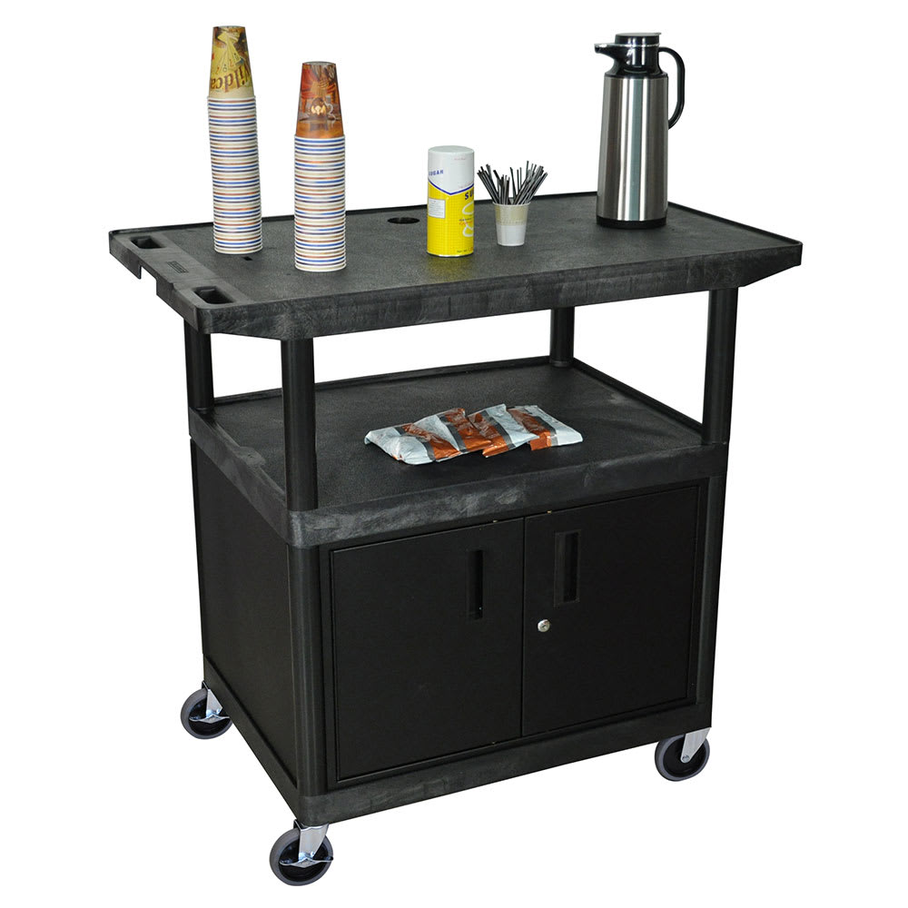 "Luxor Furniture HE40CWT-B 42"" Polymer Beverage Service Cart, 24""D x 40.25""H, Black"