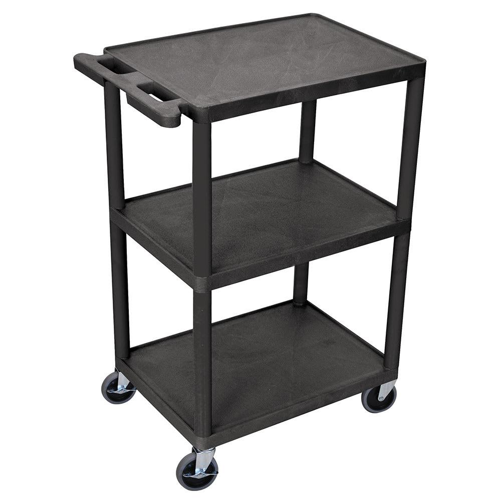 Luxor Furniture HE42-B 3-Level Polymer Utility Cart w/ 400-lb Capacity, Raised Ledges