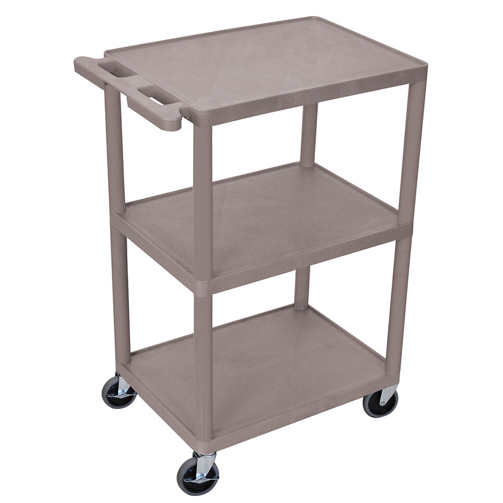 Luxor Furniture HE42-G 3-Level Polymer Utility Cart w/ 400-lb Capacity, Raised Ledges