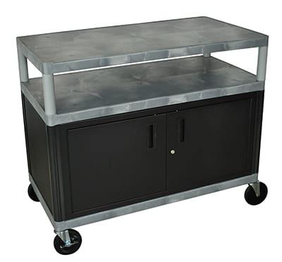"Luxor Furniture HEW335C-G 48"" Polymer Beverage Service Cart, 24""D x 48""H, Gray"