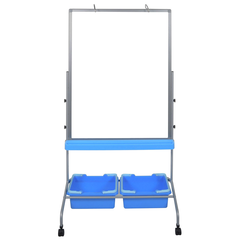 "Luxor Furniture L330 30"" x 40"" Mobile Double-Sided Whiteboard w/ (2) Storage Bins, Steel Frame"