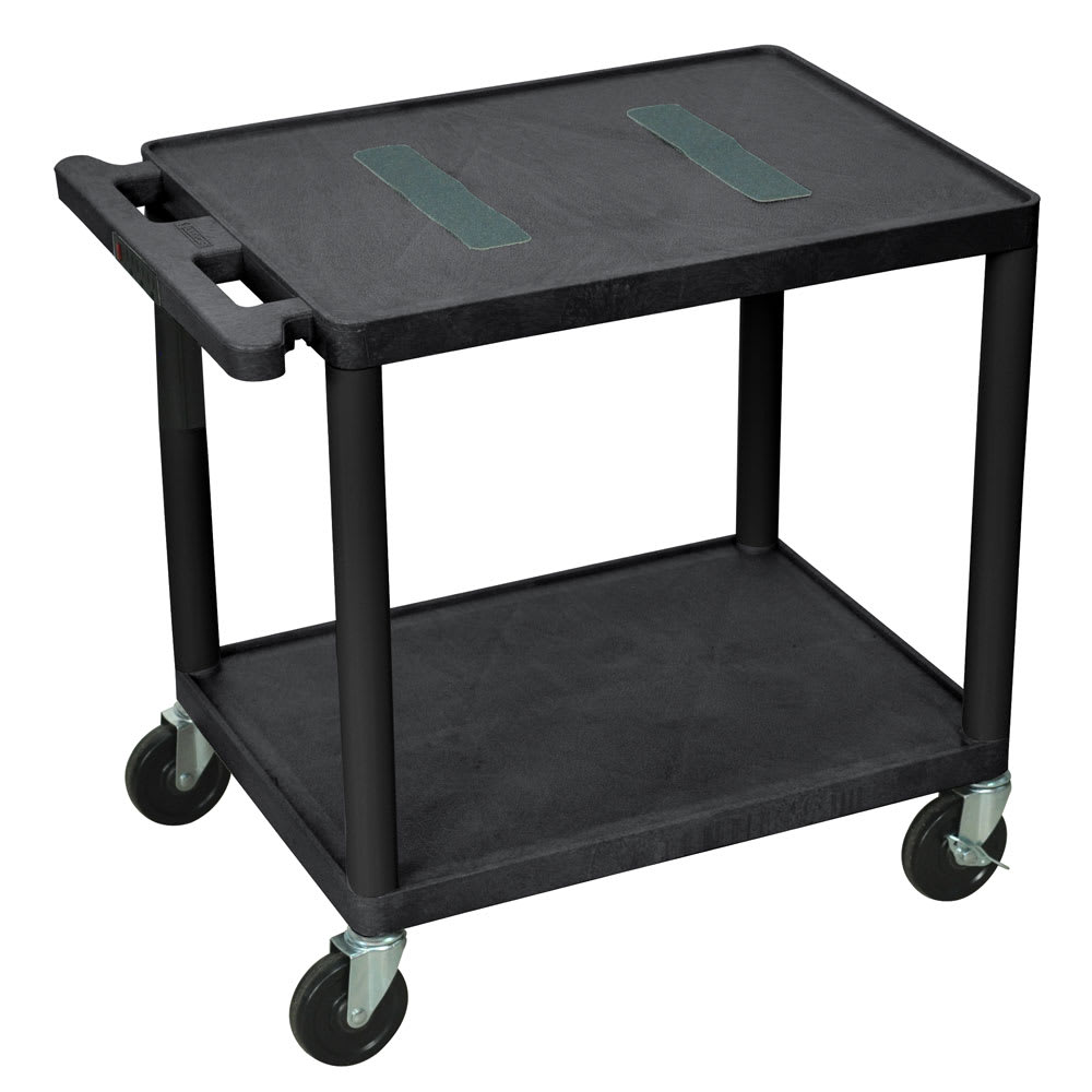 "Luxor Furniture LE26-B 26"" 2-Level A/V Utility Cart w/ 400-lb Capacity - Plastic, Black"
