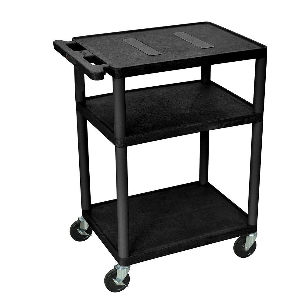 "Luxor Furniture LE34-B 34"" 3 Level A/V Utility Cart w/ 400 lb Capacity - Plastic, Black"