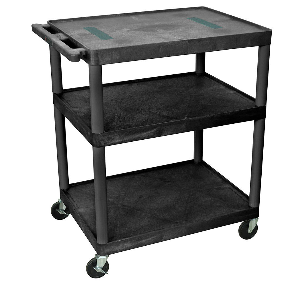 "Luxor Furniture LE40-B 40"" 3 Level A/V Utility Cart w/ 400 lb Capacity - Plastic, Black"