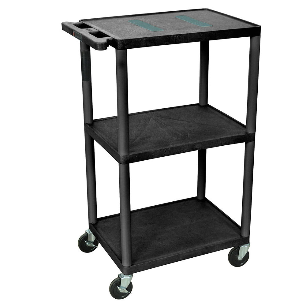 "Luxor Furniture LE42-B 42"" 3-Level A/V Utility Cart w/ 400-lb Capacity - Plastic, Black"