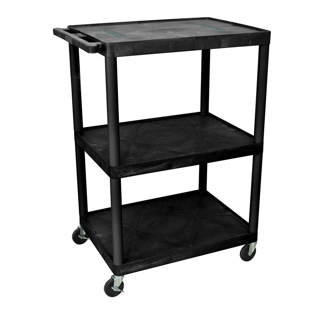 "Luxor Furniture LE48-B 48"" 3-Level A/V Utility Cart w/ 400-lb Capacity - Plastic, Black"