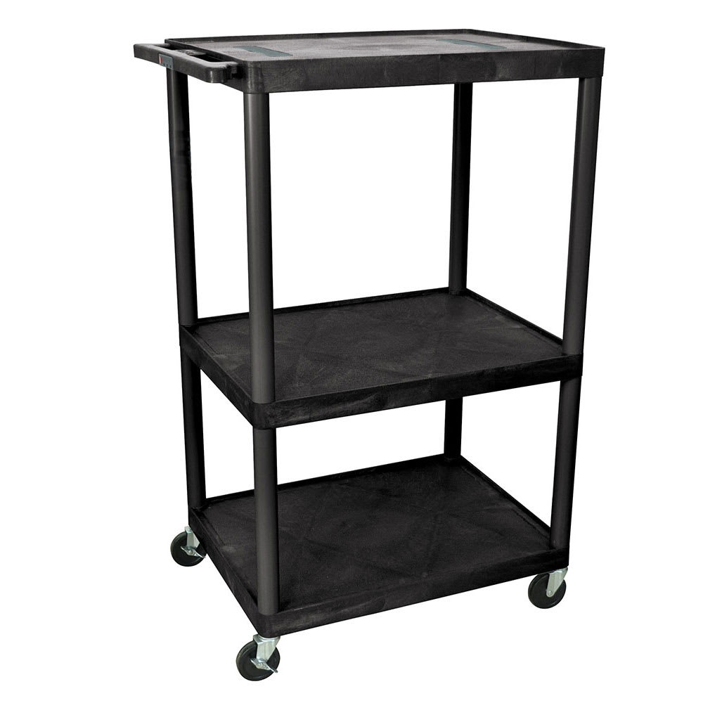 "Luxor Furniture LE54-B 54"" 3-Level A/V Utility Cart w/ 400-lb Capacity - Plastic, Black"