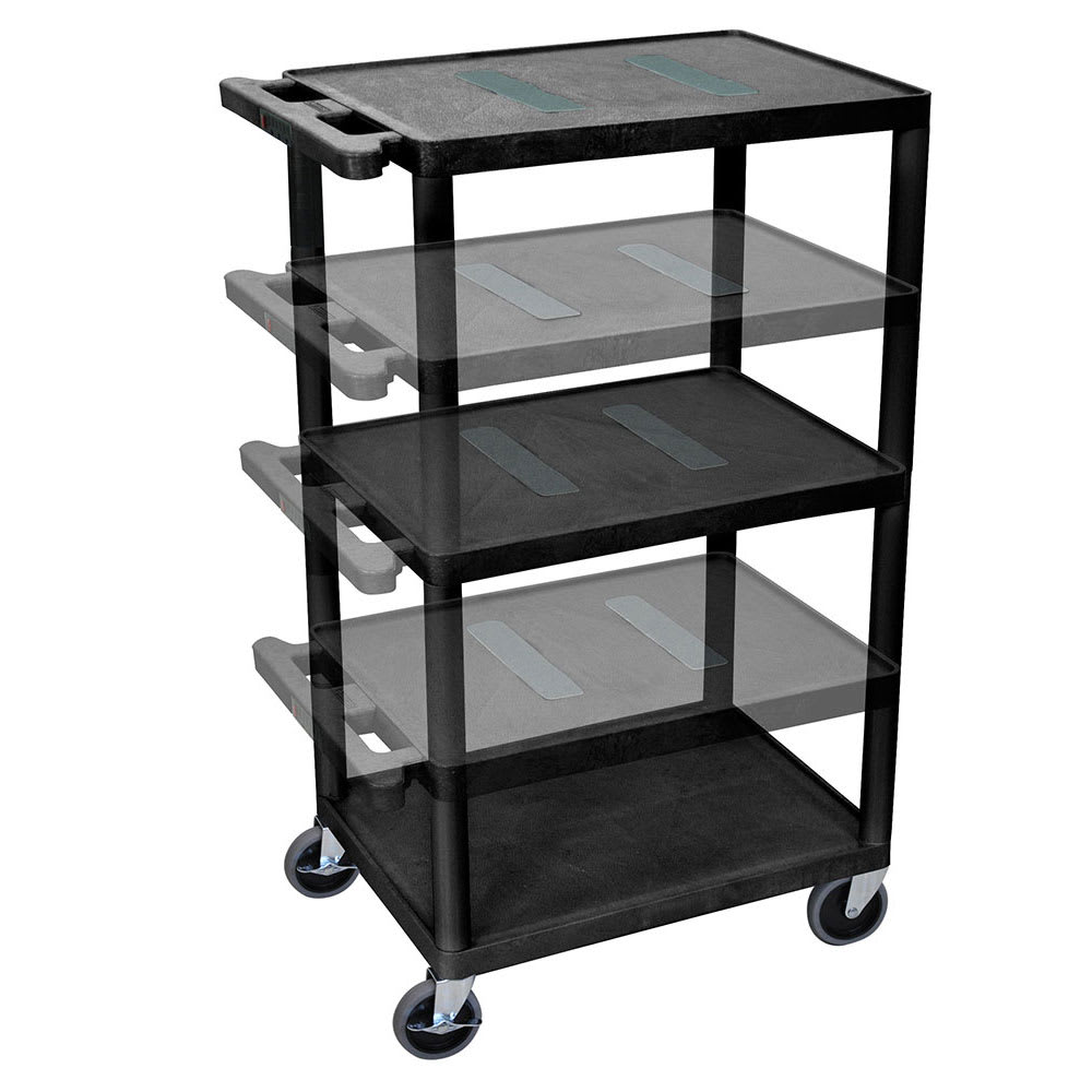 Luxor Furniture LEDUO-B 3-Level A/V Utility Cart w/ 400-lb Capacity - Adjustable Height, Plastic, Black