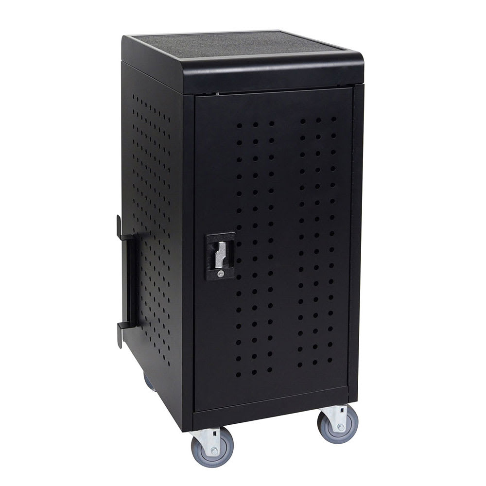 Luxor Furniture LLTM24-B 24-Tablet Charging Cart w/ (2) Shelves - 10-ft Cord, Steel