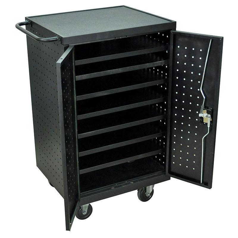 "Luxor Furniture LLTS12-B 12-Bay Laptop/Tablet Charging Cart w/ (7) Shelves, 26""W x 21""D x 37""H, Steel"