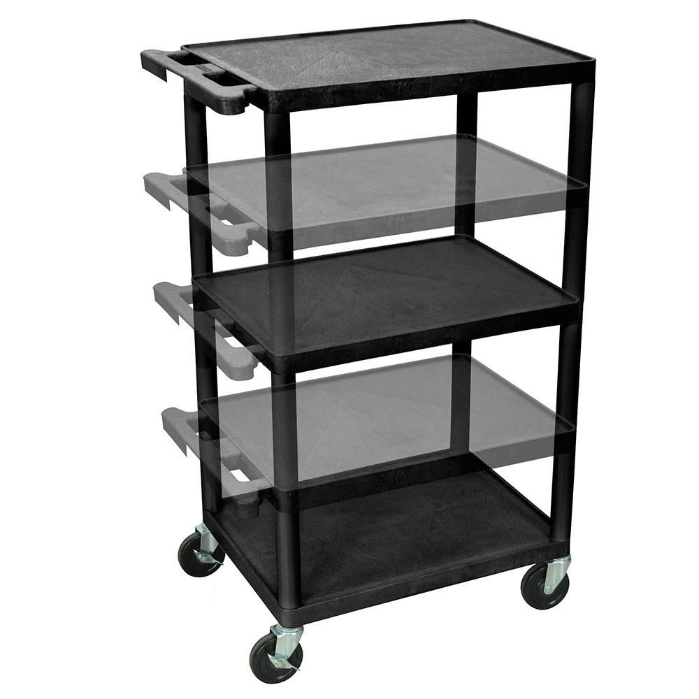 Luxor Furniture LPDUO-B 3 Level A/V Utility Cart w/ 400 lb Capacity - Adjustable Height, Plastic, Black