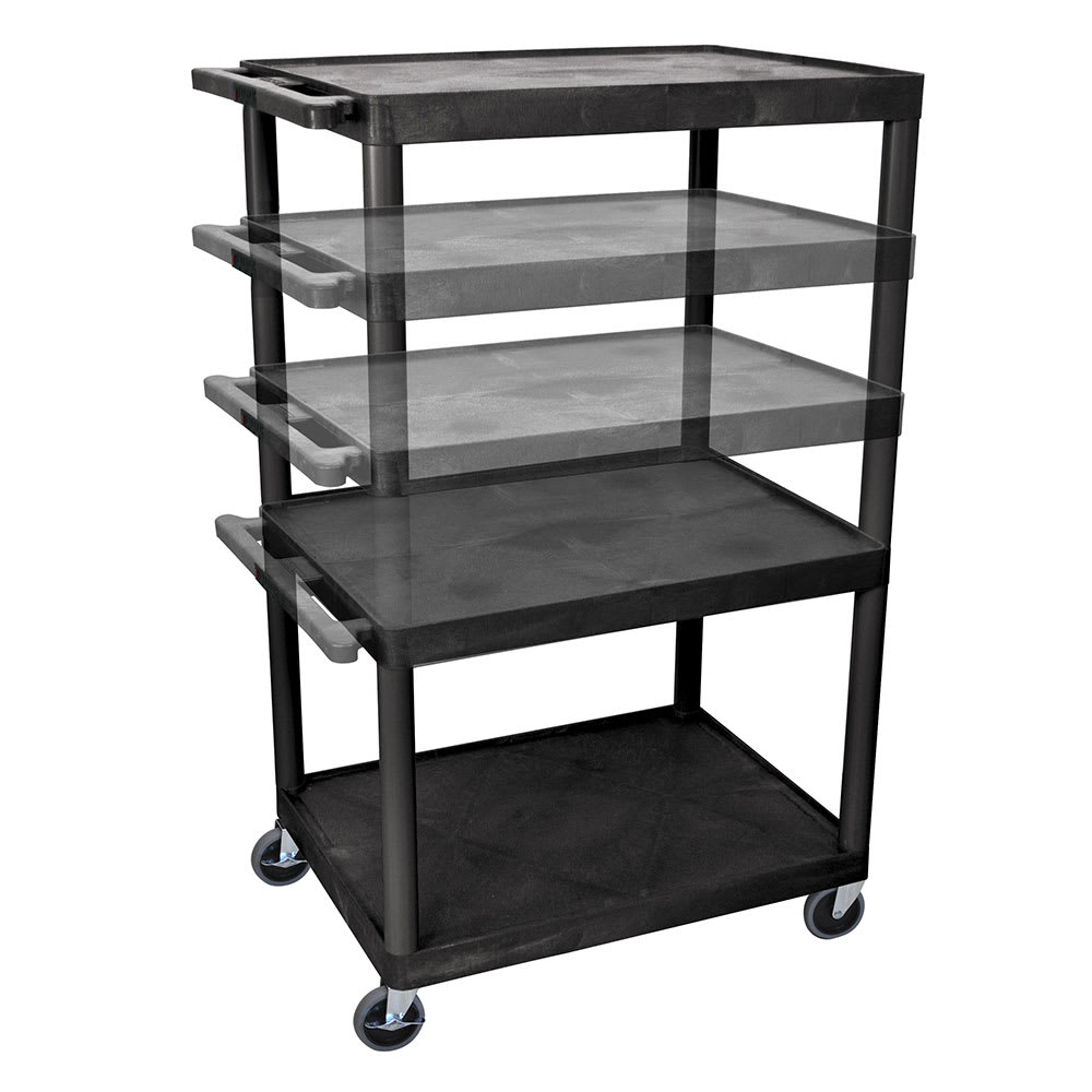 Luxor Furniture LPLDUO-B 3-Level A/V Utility Cart w/ 400-lb Capacity - Adjustable Height, Plastic, Black