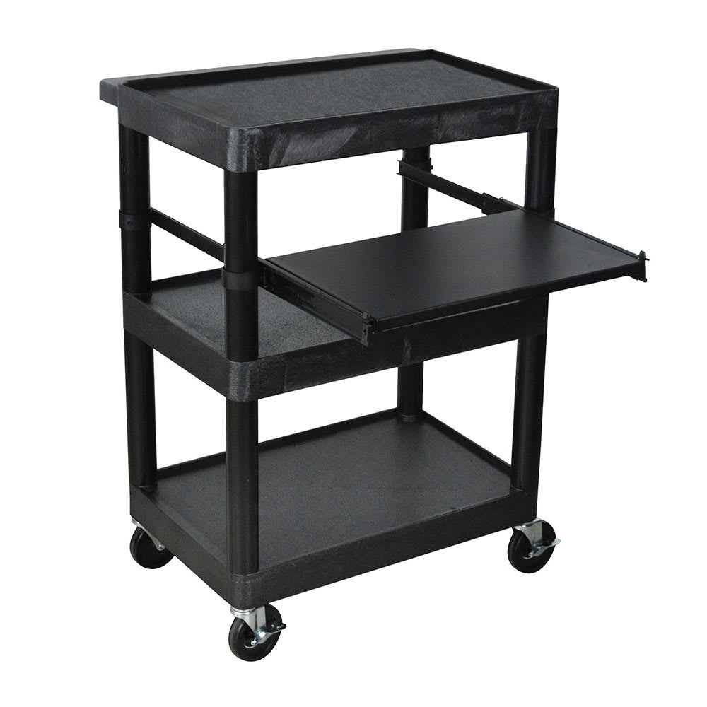 "Luxor Furniture LT34-B 34"" 3 Level A/V Utility Cart w/ 300 lb Capacity - Plastic, Black"