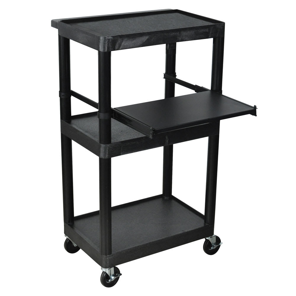 "Luxor Furniture LT45-B 45"" 3 Level A/V Utility Cart w/ 300 lb Capacity - Plastic, Black"
