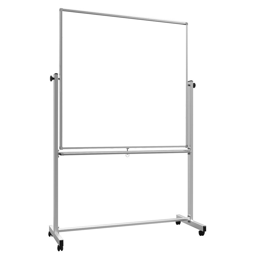 """Luxor Furniture MB4848WW 48"""" Square Mobile Double-Sided Whiteboard w/ Aluminum Frame"""