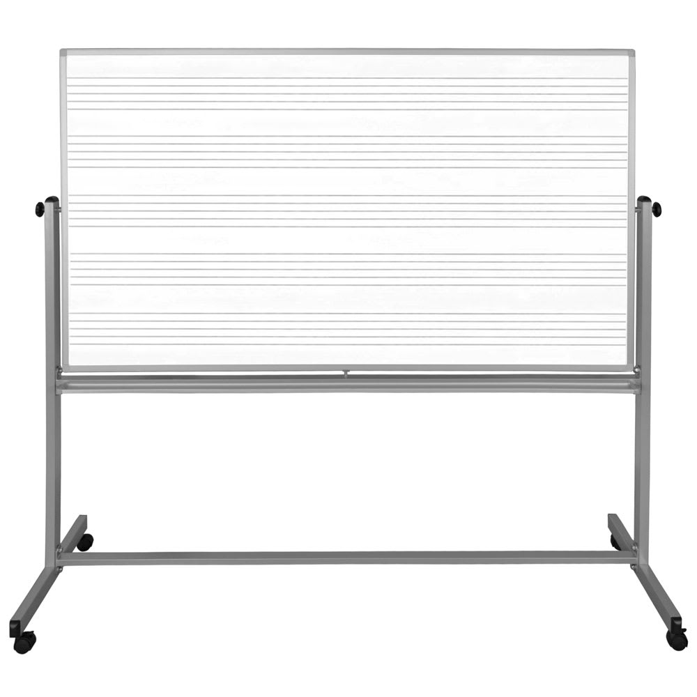 "Luxor Furniture MB7248MM 72"" x 48"" Mobile Double-Sided Music Whiteboard w/ Aluminum Frame"