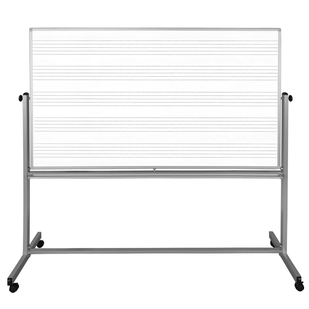 "Luxor Furniture MB7248MW 72"" x 48"" Mobile Double-Sided Music Whiteboard/Whiteboard w/ Aluminum Frame"