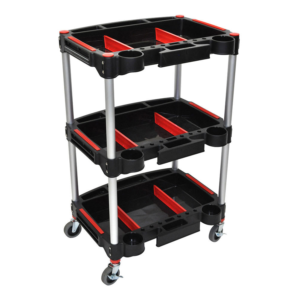 "Luxor Furniture MC-3 32"" 3-Level Mechanics Cart w/ 132-lb Capacity - Aluminum/Plastic, Black"