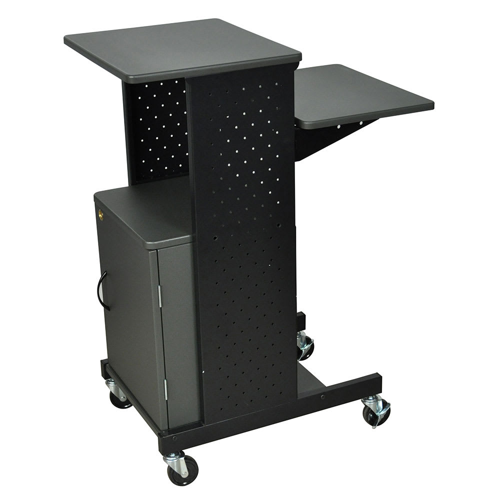 "Luxor Furniture PS4000C Mobile Presentation Station w/ 4-Work Surfaces & Cabinet, Adjust to 33"" H"