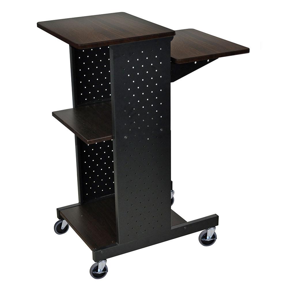 Luxor Furniture PS4000-W Adjustable Presentation Station 4-Rich Walnut Laminate Work Surfaces Steel Frame