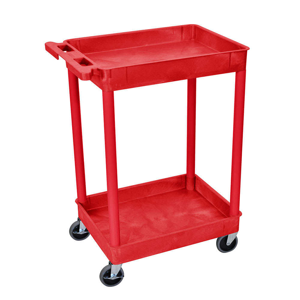 Luxor Furniture RDSTC11RD 2-Level Polymer Utility Cart w/ 300-lb Capacity - Raised Ledges, Red