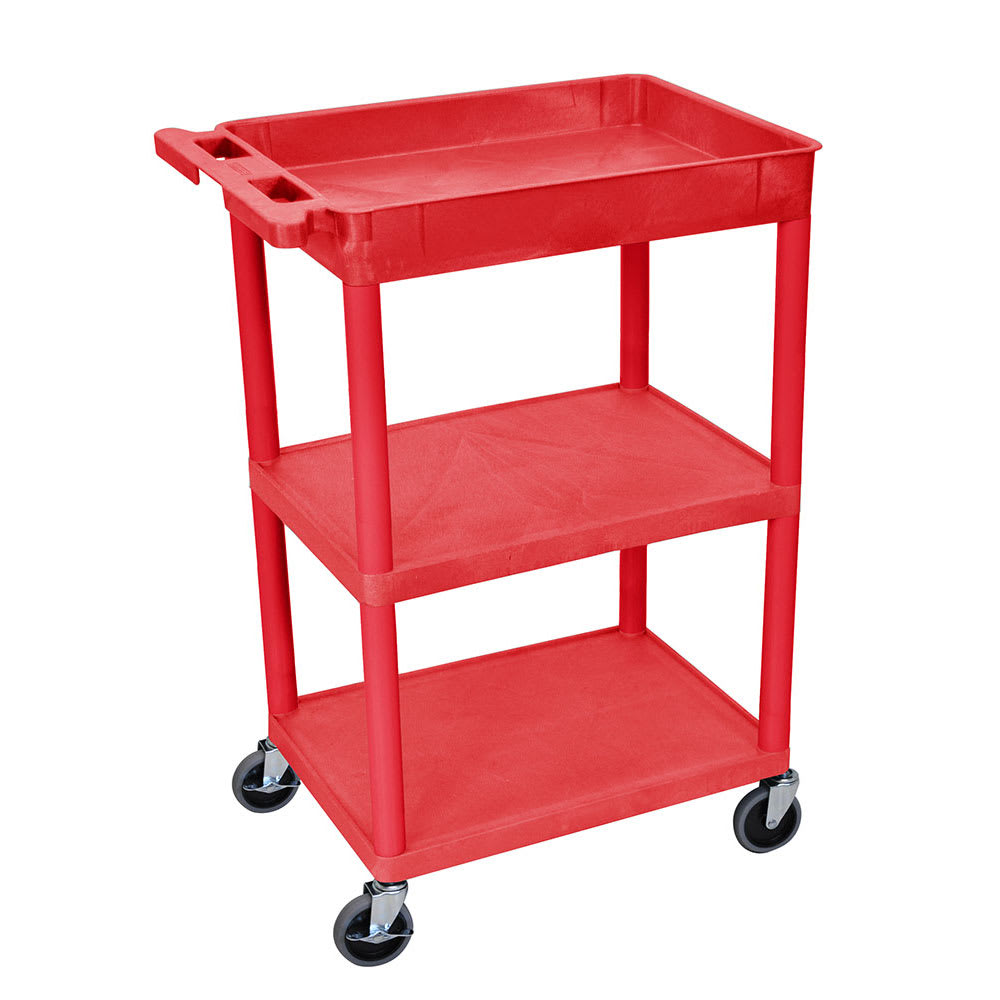 Luxor Furniture RDSTC122RD 3-Level Polymer Utility Cart w/ 300-lb Capacity - Raised Ledges, Red