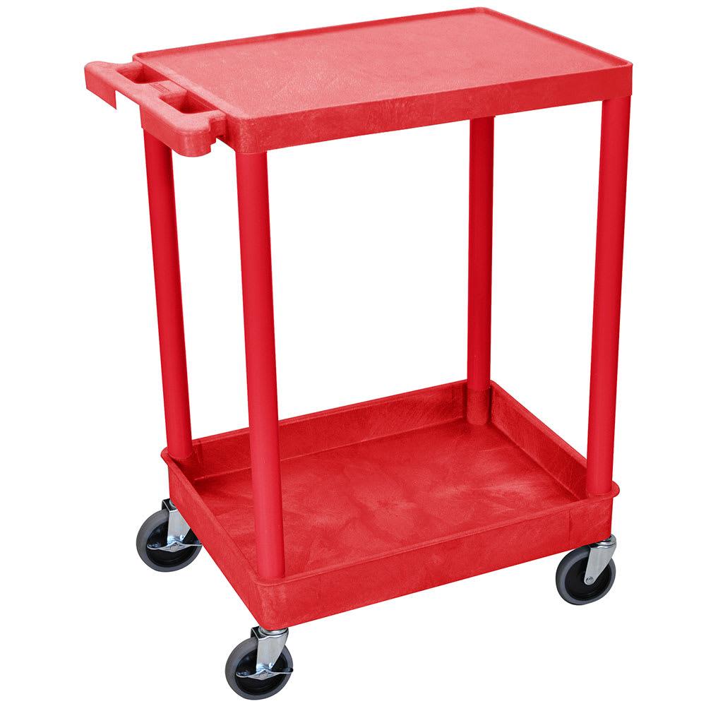 Luxor Furniture RDSTC21RD 2-Level Polymer Utility Cart w/ 300-lb Capacity, Raised Ledges