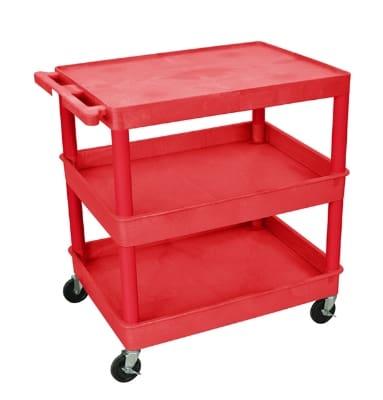 Luxor Furniture RDTC211RD Multipurpose Cart w/ 2-Tubs & Flat Shelf, 32x24x36.5-in, Polyethylene, Red