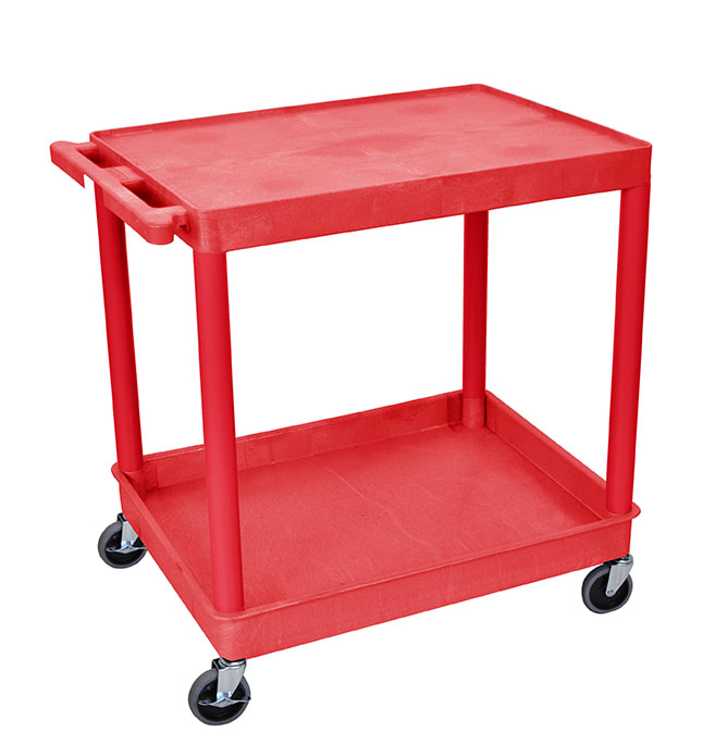 "Luxor Furniture RDTC21RD Multipurpose Cart w/ Tub & Flat Shelf, 32x24x35.75"", Polyethylene, Red"