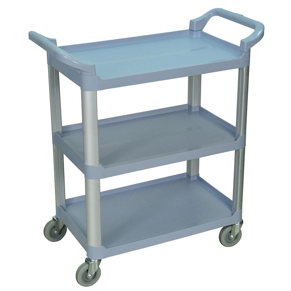 Luxor Furniture SC12-G 3-Level Polymer Utility Cart w/ 200-lb Capacity, Raised Ledges
