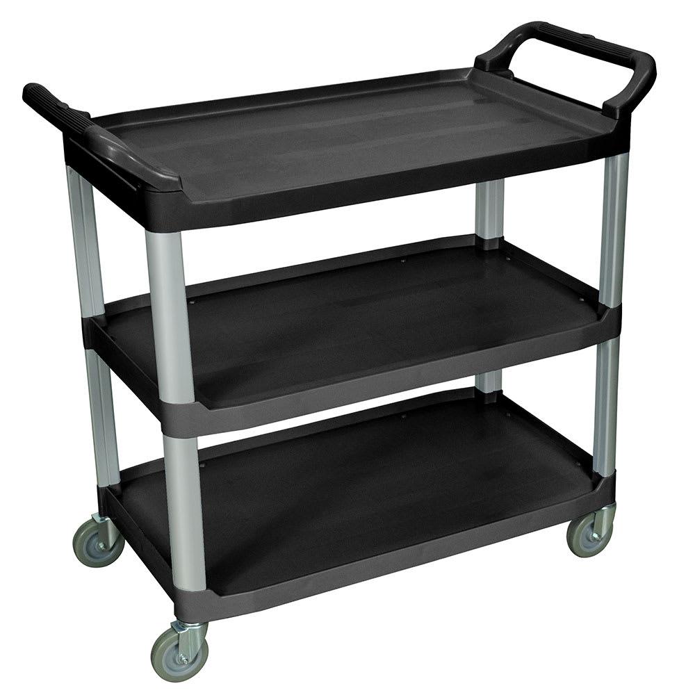 Luxor Furniture SC13-B 3-Level Polymer Utility Cart w/ 300-lb Capacity, Raised Ledges