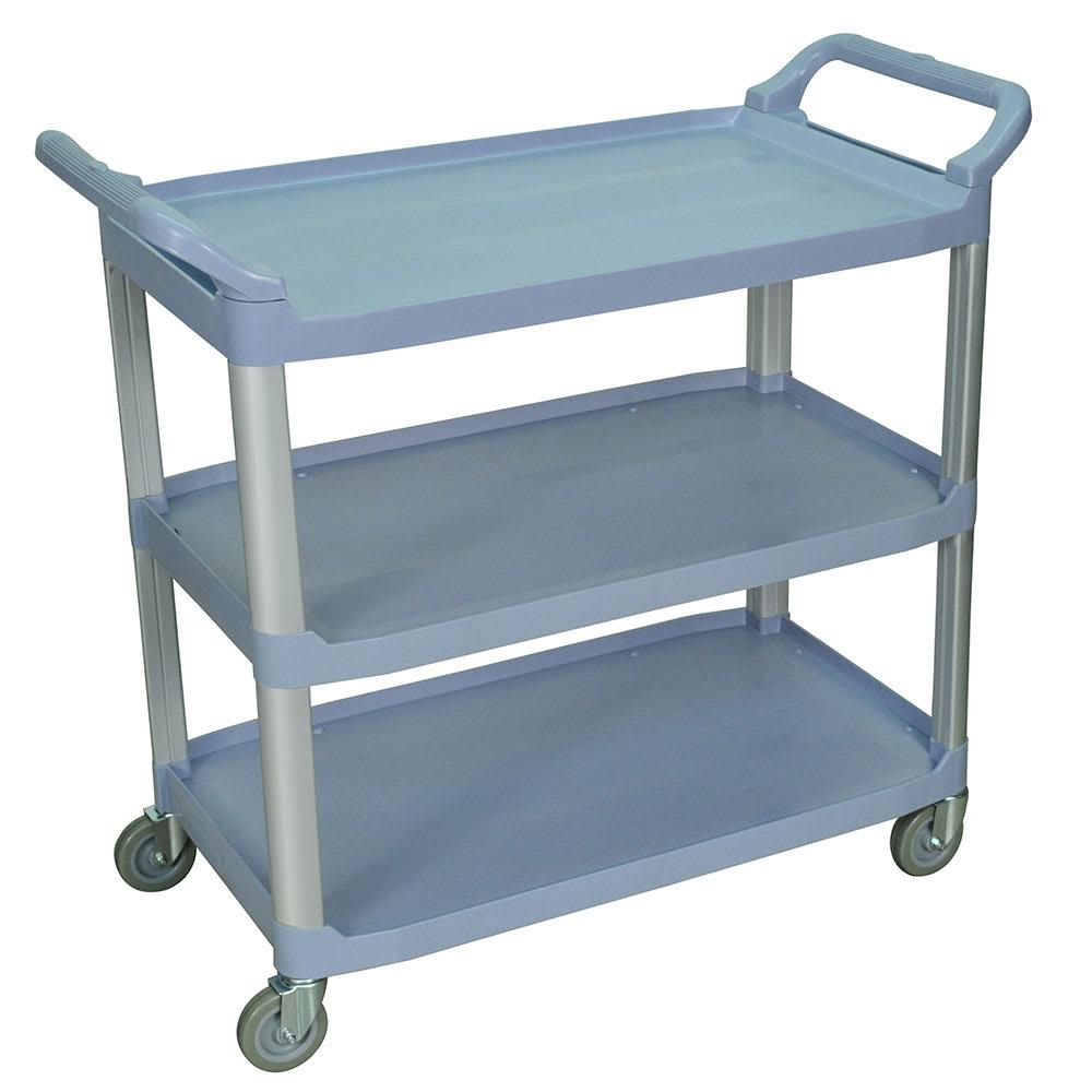 Luxor Furniture SC13-G 3-Level Polymer Utility Cart w/ 300-lb Capacity, Raised Ledges