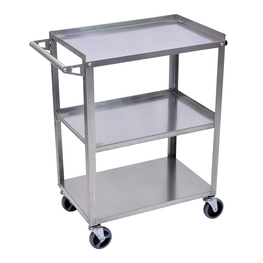 Luxor Furniture SSC-3 3-Level Stainless Steel Utility Cart w/ 300-lb Capacity, Raised Ledges