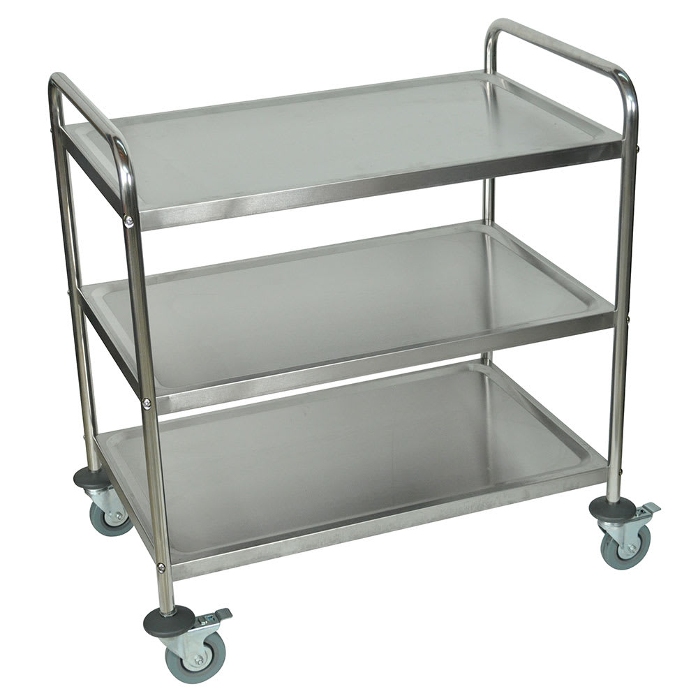 Luxor Furniture ST-3 3-Level Stainless Utility Cart w/ 200-lb Capacity, Raised Ledges