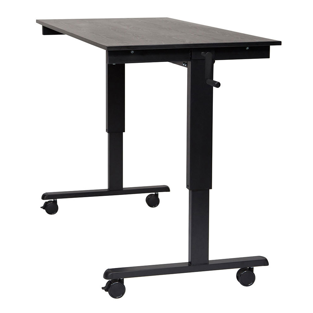 "Luxor Furniture STANDCF60-BK/BO 60"" Adjustable Standing Desk - Black Frame, Black Oak Tabletop"