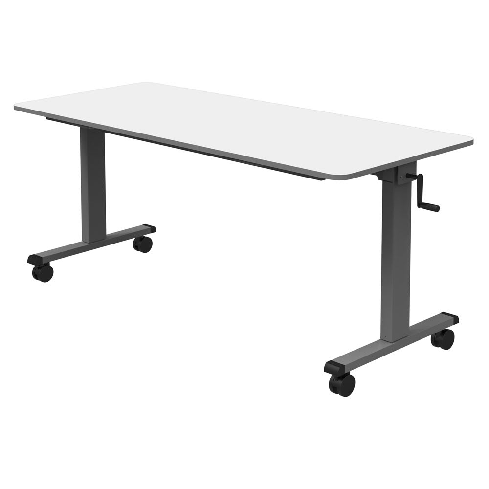 "Luxor Furniture STAND-NESTC-60 60"" Adjustable Flip Top Table - Steel Frame, Gray Tabletop"