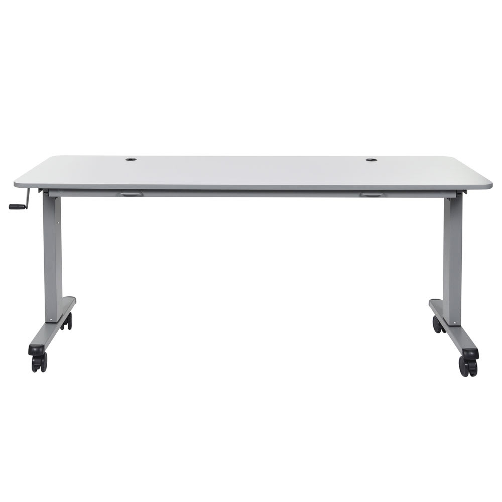 "Luxor Furniture STAND-NESTC-72 72"" Adjustable Flip Top Table - Steel Frame, Gray Tabletop"
