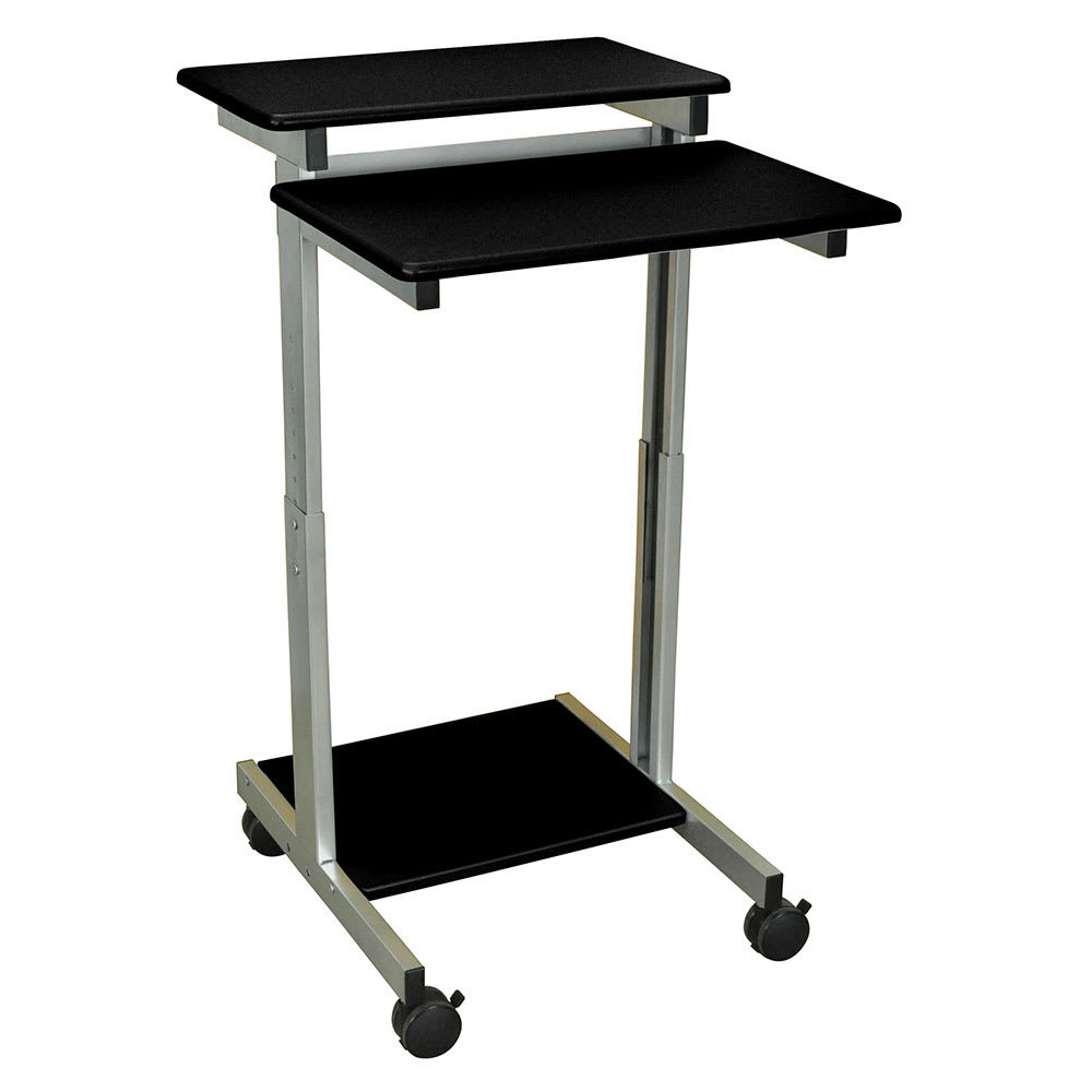 "Luxor Furniture STANDUP-24-B 24"" Mobile Standing Presentation Station - Adjustable Height, Steel Frame, Black"